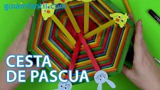 getlinkyoutube.com-Cómo hacer una cesta de Pascua y animales con palitos de helado