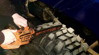 getlinkyoutube.com-Easy tire cutting and grooving CHAINSAW