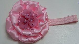 Como hacer flores de cinta, How to make ribbon flowers.,video 543