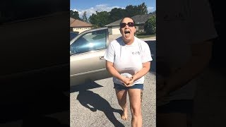 angry lady yells at kid for standing in road.. width=