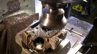 getlinkyoutube.com-Customize 110cc Chinese motorcycle engine head by 6T10 milling machine and Sandvik tool