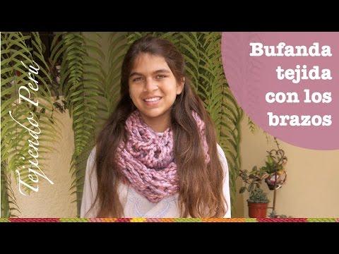 Mini tutorial # 4: bufanda infinita tejida con los brazos!