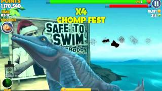 getlinkyoutube.com-Hungry Shark Evolution Mr Snappy Vs Megalodon | Scoring few million in last few minutes