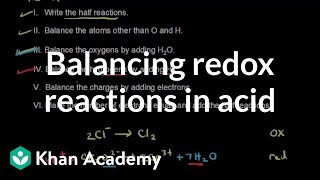 Balancing redox reactions in acid | Redox reactions and electrochemistry | Chemistry | Khan Academy