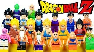 getlinkyoutube.com-LEGO Dragon Ball Z KnockOff Minifigure Collection w/ Goku Krilin Vegeta & Piccolo