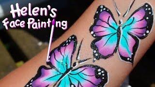 getlinkyoutube.com-Face Painting Tutorial - Butterfly Demonstration using Split Cake