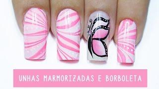 getlinkyoutube.com-Decoração de unhas marmorizadas e Borboleta Carga Dupla - marbled nails
