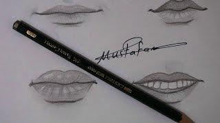 مراحل رسم الشفاة تعلم رسم الفم (الشفاه)