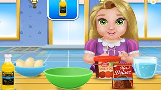 getlinkyoutube.com-Disney Princess Rapunzel Video Games ♥ Baby Rapunzel Cooking Cake Balls