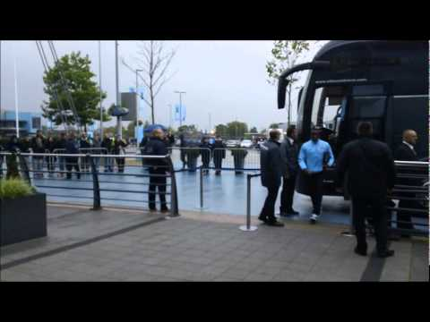 Carling Cup - Manchester City v Birmingham City: The players arrive at the Etihad Stadium