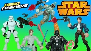 getlinkyoutube.com-Star Wars Hero Mashers Super Pack Part 2 Han Solo Boba Fett and Stormtrooper join the fight!