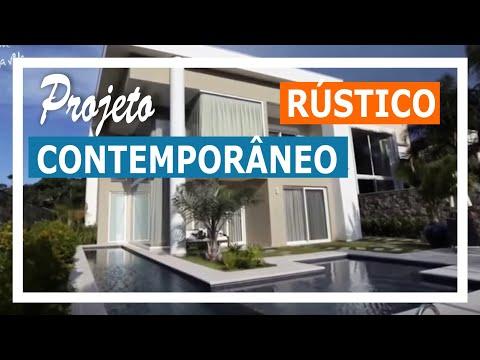 Rústico e contemporâneo se unem em linda casa de 360m² no litoral catarinense.