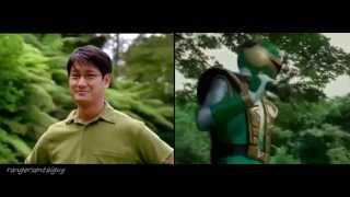 getlinkyoutube.com-Power Rangers Ninja Storm Green Samurai Ranger First Appearance Split Screen (PR and Sentai version)