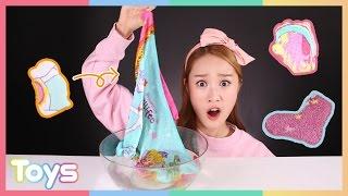 getlinkyoutube.com-캐리의 물에 넣으면 부푸는 신기한 양말과 수건 장갑 놀이 CarrieAndToys