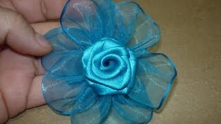 getlinkyoutube.com-Tutorial paso a paso Flor Elegante  cinta organza para el cabello,#149 Manualidadeslahormiga