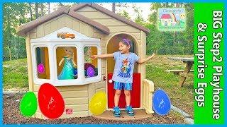 getlinkyoutube.com-MEGA GIANT SURPRISE BOX STEP2 Playhouse + Egg Hunt for Huge Surprise Eggs Opening Toys Frozen Elsa