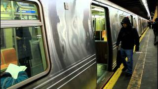 getlinkyoutube.com-BMT Subway: R160 (N) and R46 (R) trains at 59th Street (Brooklyn)