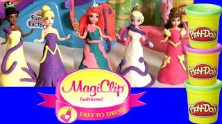 getlinkyoutube.com-6 Princesas Disney com Vestidos Magiclip Play Doh Sparkle com Brilho Glitter ToysBR