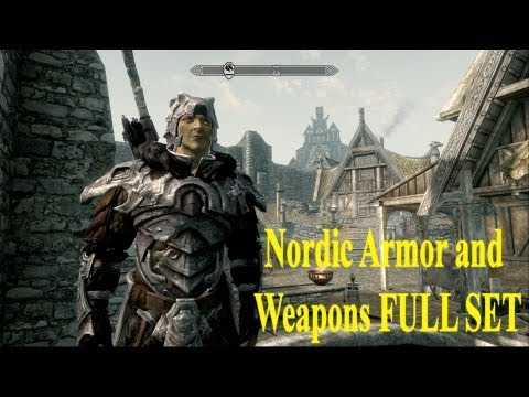 Skyrim Dragonborn DLC: All Nordic Armor and Weapons FULL SET