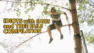 getlinkyoutube.com-Chainsaw fails and idiots cutting trees. Fail compilation about how not to remove trees. Part 4