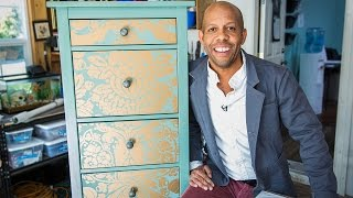 getlinkyoutube.com-Home & Family - How to Makeover your Dresser using Wallpaper