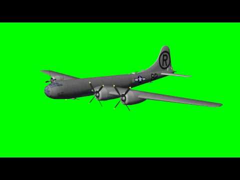 Boeing B-29 Superfortress in flight - green screen effects