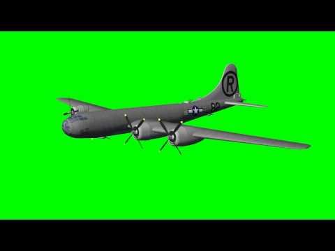 Boeing B-29 Superfortress in flight - green screen effects