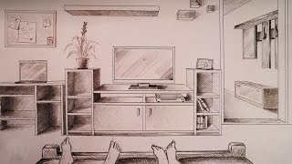 getlinkyoutube.com-How to draw - one point perspective bedroom with furniture