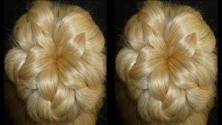 """getlinkyoutube.com-Прическа """"Пучок-цветок"""" из волос. Причёски для средних, длинных волос"""
