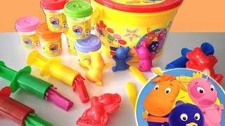 getlinkyoutube.com-Backyardigans Baldão da Diversão Plastilina Playdough Sunny Unboxing toys