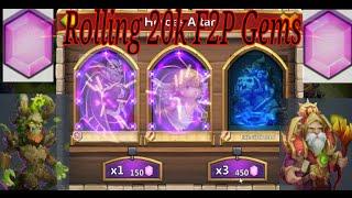 getlinkyoutube.com-Castle Clash 20k F2P Gem Rolling - Uncover the Treasures