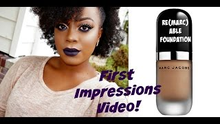 getlinkyoutube.com-FIRST IMPRESSIONS| Marc Jacobs Re(Marc)Able Foundation- Medium Cocoa| Foundation Routine