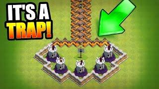 getlinkyoutube.com-HARDEST TROLL BASE EVER!? 🔥 Clash Of Clans 🔥 MINI GAME BASE!