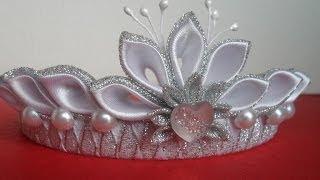 getlinkyoutube.com-Новогодняя Корона Канзаши ! Для начинающих / New Crown Kanzashi! for beginners