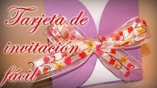 getlinkyoutube.com-Tarjeta de invitación fácil. Comunión, Bodas, Bautizo - DIY - Easy invitation card