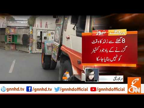 Container carrying chemical overturns in Faisalabad