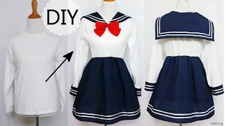 getlinkyoutube.com-DIY: How to Transform T shirt into Navy Dress + Chinese/Qi Lolita Dress Review
