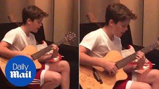 Cruz Beckham warms up his vocals with Justin Bieber hit - Daily Mail width=