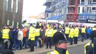 getlinkyoutube.com-Newcastle 0 - 3 Sunderland. Sunderland fans get marched passed the stadium by police. 2014