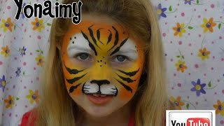 getlinkyoutube.com-PINTACARITAS DE TIGRE .- FACE PAINTING TIGER .