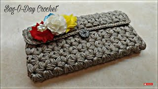 CROCHET How To #Crochet Puffed Star Stitch Clutch Wallet Purse #TUTORIAL #304 LEARN CROCHET