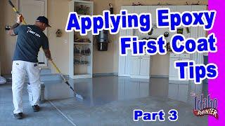 Applying Epoxy The First Coat.  Epoxy Floor Application Instructions.  Instructions applying epoxy.
