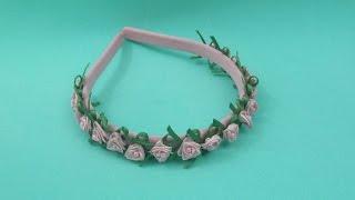 getlinkyoutube.com-Faça você mesma: flor de fita de cetim ( uma forma mais fácil) + tiara de flores