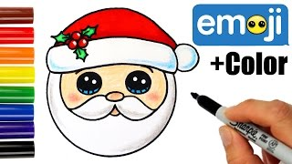 getlinkyoutube.com-How to Draw + Color Santa Head Emoji step by step Super Easy