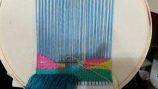 getlinkyoutube.com-سناب: حياكة نول على الطارة ؟ hoop weaving !