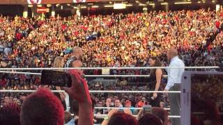 "getlinkyoutube.com-LIVE ""Rowdy"" Rhonda Rousey UfC Champion owns Stephanie McMhanon during Wrestlemania 31 - The Rock"