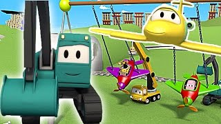 Construction Squad: the Dump Truck, the Crane and the Excavator build a Swing for babies in Car City