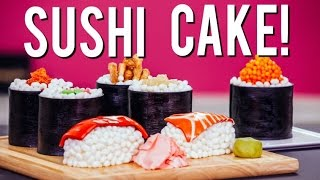 getlinkyoutube.com-How to Make SUSHI CAKE! Chocolate Jelly Roll Sponge, Ginger Infused Buttercream & Candy Toppings!