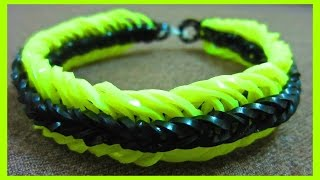 getlinkyoutube.com-Rainbow Loom Bracelet Super 6 Six Link Fishtail without Loom/ on 2 Pencils.