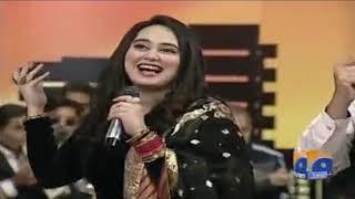 Ayesha Jhanzaib singing a song
